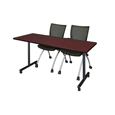 Regency 60L x 24W  Kobe Mobile Training Table- Mahogany & 2 Apprentice Chairs- Black (MKCC6024MH09BK)