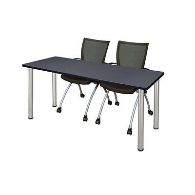 Regency 66L x 24W  Kee Training Table- Grey/ Chrome & 2 Apprentice Chairs- Black (MT6624GYPCM09BK)