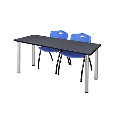 Regency 66L x 24W  Kee Training Table- Grey/ Chrome & 2 M Stack Chairs- Blue (MT6624GYPCM47BE)