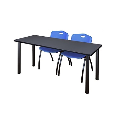 Regency 66L x 24W  Kee Training Table- Grey/ Black & 2 M Stack Chairs- Blue (MT6624GYPBK47BE)