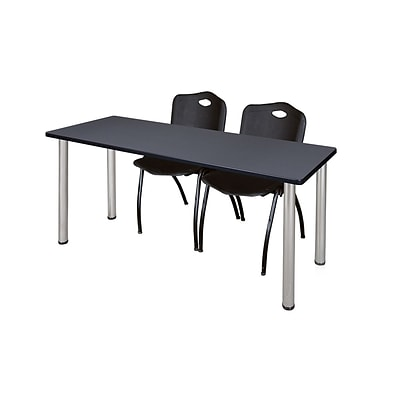 Regency 66L x 24W  Kee Training Table- Grey/ Chrome & 2 M Stack Chairs- Black (MT6624GYPCM47BK)