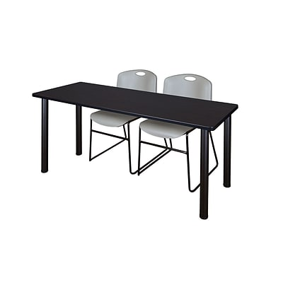 Regency 72L x 24W  Kee Training Table- Mocha Walnut/ Black & 2 Zeng Stack Chairs- Grey (MT7224MWPBK44GY)