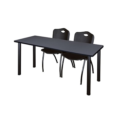 Regency 72L x 24W  Kee Training Table- Grey/ Black & 2 M Stack Chairs- Black (MT7224GYPBK47BK)