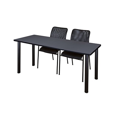 Regency 66L x 24W  Kee Training Table- Grey/ Black & 2 Mario Stack Chairs- Black (MT6624GYPBK75BK)