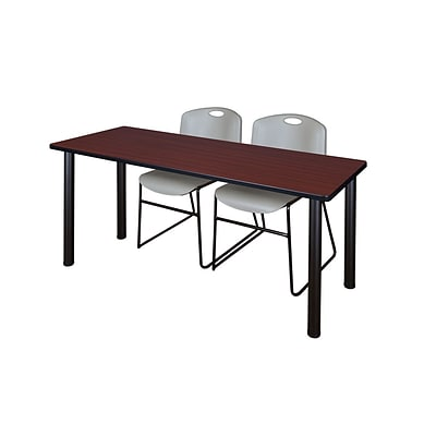 Regency 72L x 24W  Kee Training Table- Mahogany/ Black & 2 Zeng Stack Chairs- Grey (MT7224MHPBK44GY)