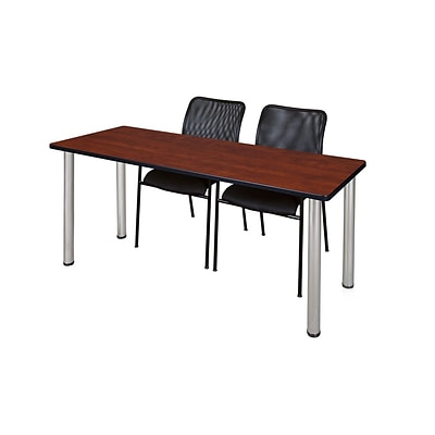 Regency 72L x 24W  Kee Training Table- Cherry/ Chrome & 2 Mario Stack Chairs- Black (MT7224CHPCM75BK)