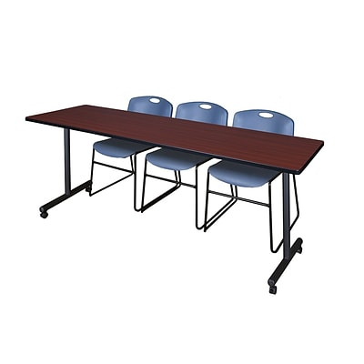 Regency 84L x 24W  Kobe Mobile Training Table- Mahogany & 3 Zeng Stack Chairs- Blue (MKCC8424MH44BE)