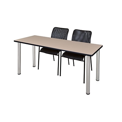 Regency 72L x 24W  Kee Training Table- Beige/ Chrome & 2 Mario Stack Chairs- Black (MT7224BEPCM75BK)