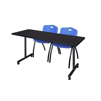 Regency 60L x 24W  Kobe Mobile Training Table- Mocha Walnut & 2 M Stack Chairs- Blue (MKCC6024MW47BE)