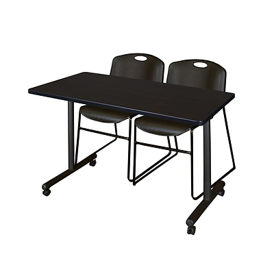 Regency 48L x 24W  Kobe Mobile Training Table- Mocha Walnut & 2 Zeng Stack Chairs- Black (MKCC4824MW44BK)