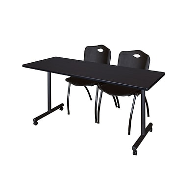 Regency 60L x 24W  Kobe Mobile Training Table- Mocha Walnut & 2 M Stack Chairs- Black (MKCC6024MW47BK)