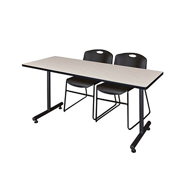 Regency 72L x 24W  Kobe Training Table- Maple & 2 Zeng Stack Chairs- Black (MKTR7224PL44BK)