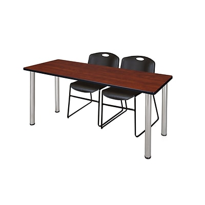 Regency 72L x 24W  Kee Training Table- Cherry/ Chrome & 2 Zeng Stack Chairs- Black (MT7224CHPCM44BK)