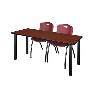 Regency 72L x 24W  Kee Training Table- Cherry/ Black & 2 M Stack Chairs- Burgundy (MT7224CHPBK47BY)