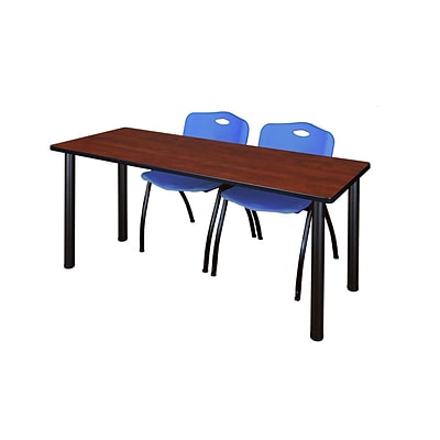 Regency 72L x 24W  Kee Training Table- Cherry/ Black & 2 M Stack Chairs- Blue (MT7224CHPBK47BE)