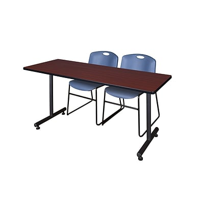 Regency 60L x 24W  Kobe Training Table- Mahogany & 2 Zeng Stack Chairs- Blue (MKTR6024MH44BE)
