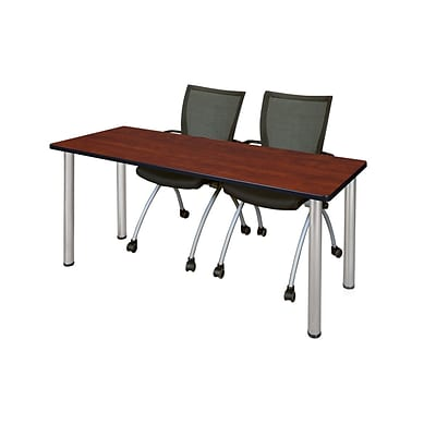 Regency 72L x 24W  Kee Training Table- Cherry/ Chrome & 2 Apprentice Chairs- Black (MT7224CHPCM09BK)