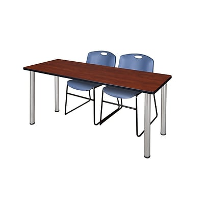 Regency 72L x 24W  Kee Training Table- Cherry/ Chrome & 2 Zeng Stack Chairs- Blue (MT7224CHPCM44BE)