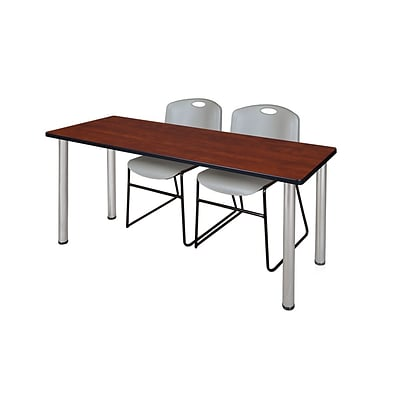 Regency 72L x 24W  Kee Training Table- Cherry/ Chrome & 2 Zeng Stack Chairs- Grey (MT7224CHPCM44GY)