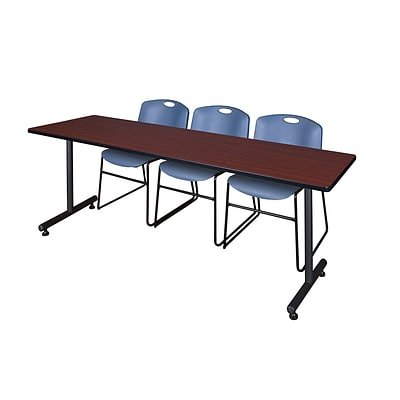 Regency 84L x 24W  Kobe Training Table- Mahogany & 3 Zeng Stack Chairs- Blue (MKTR8424MH44BE)