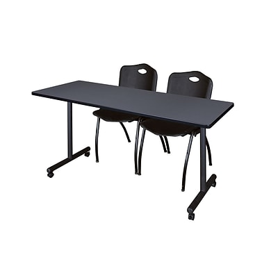 Regency 66L x 24W  Kobe Mobile Training Table- Grey & 2 M Stack Chairs- Black (MKCC6624GY47BK)