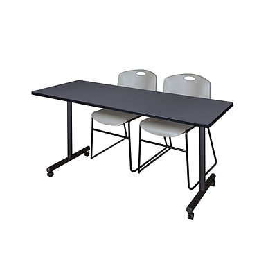 Regency 72L x 24W  Kobe Mobile Training Table- Grey & 2 Zeng Stack Chairs- Grey (MKCC7224GY44GY)