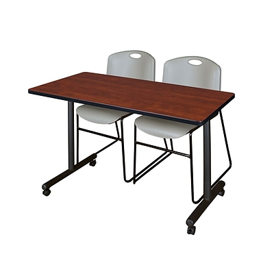 Regency 48L x 24W  Kobe Mobile Training Table- Cherry & 2 Zeng Stack Chairs- Grey (MKCC4824CH44GY)