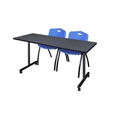 Regency 72L x 24W  Kobe Mobile Training Table- Grey & 2 M Stack Chairs- Blue (MKCC7224GY47BE)