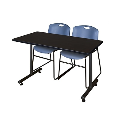 Regency 48L x 24W  Kobe Training Table- Mocha Walnut & 2 Zeng Stack Chairs- Blue (MKTR4824MW44BE)