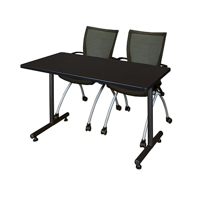 Regency 48L x 24W  Kobe Training Table- Mocha Walnut & 2 Apprentice Chairs- Black (MKTR4824MW09BK)