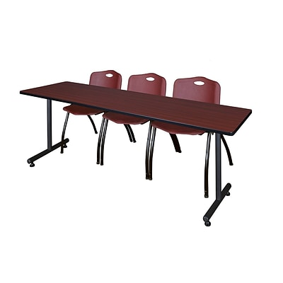 Regency 84L x 24W  Kobe Training Table- Mahogany & 3 M Stack Chairs- Burgundy (MKTR8424MH47BY)