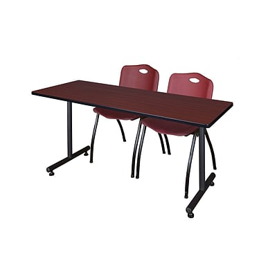 Regency 60L x 24W  Kobe Training Table- Mahogany & 2 M Stack Chairs- Burgundy (MKTR6024MH47BY)