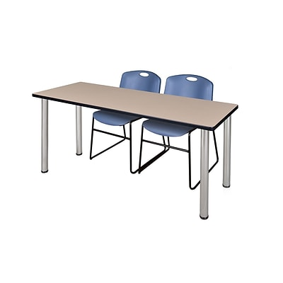 Regency 72L x 24W  Kee Training Table- Beige/ Chrome & 2 Zeng Stack Chairs- Blue (MT7224BEPCM44BE)