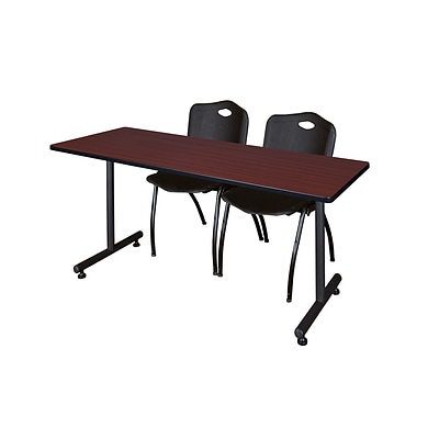 Regency 66L x 24W  Kobe Training Table- Mahogany & 2 M Stack Chairs- Black (MKTR6624MH47BK)