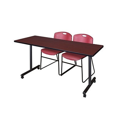 Regency 66L x 24W  Kobe Mobile Training Table- Mahogany & 2 Zeng Stack Chairs- Burgundy (MKCC6624MH44BY)