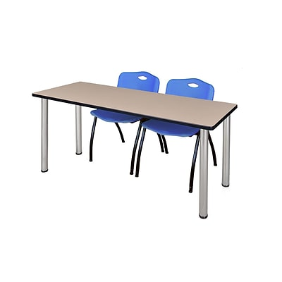 Regency 72L x 24W  Kee Training Table- Beige/ Chrome & 2 M Stack Chairs- Blue (MT7224BEPCM47BE)