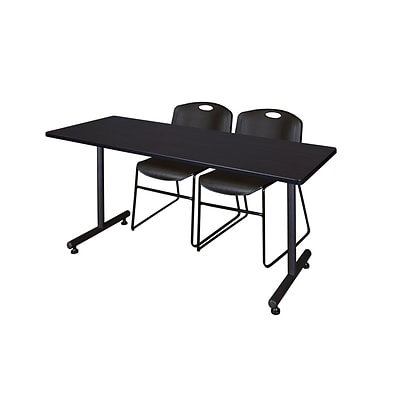 Regency 72L x 24W  Kobe Training Table- Mocha Walnut & 2 Zeng Stack Chairs- Black (MKTR7224MW44BK)