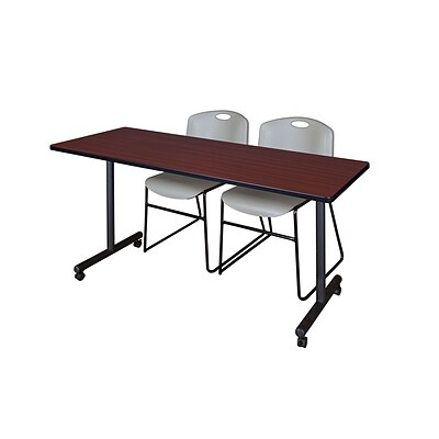 Regency 66L x 24W  Kobe Mobile Training Table- Mahogany & 2 Zeng Stack Chairs- Grey (MKCC6624MH44GY)