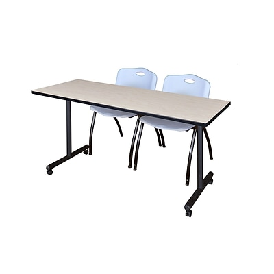 Regency 66L x 24W  Kobe Mobile Training Table- Maple & 2 M Stack Chairs- Grey (MKCC6624PL47GY)
