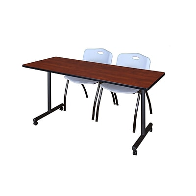 Regency 66L x 24W  Kobe Mobile Training Table- Cherry & 2 M Stack Chairs- Grey (MKCC6624CH47GY)