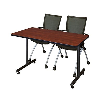 Regency 48L x 24W  Kobe Training Table- Cherry & 2 Apprentice Chairs- Black (MKTR4824CH09BK)