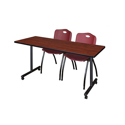 Regency 66L x 24W  Kobe Mobile Training Table- Cherry & 2 M Stack Chairs- Burgundy (MKCC6624CH47BY)