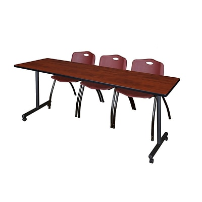 Regency 84L x 24W  Kobe Mobile Training Table- Cherry & 3 M Stack Chairs- Burgundy (MKCC8424CH47BY)