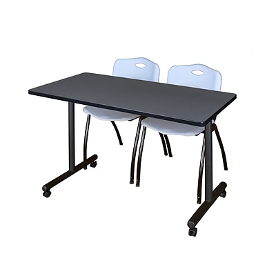 Regency 48L x 24W  Kobe Mobile Training Table- Grey & 2 M Stack Chairs- Grey (MKCC4824GY47GY)