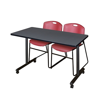 Regency 48L x 24W  Kobe Mobile Training Table- Grey & 2 Zeng Stack Chairs- Burgundy (MKCC4824GY44BY)