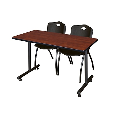 Regency 48L x 24W  Kobe Training Table- Cherry & 2 M Stack Chairs- Black (MKTR4824CH47BK)