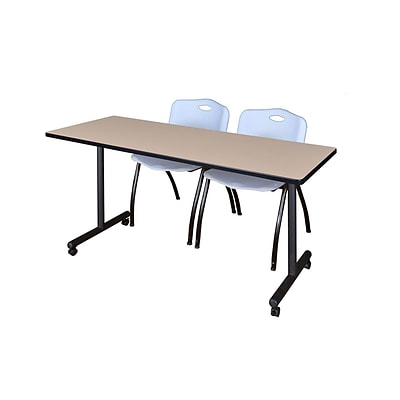 Regency 72L x 24W  Kobe Mobile Training Table- Beige & 2 M Stack Chairs- Grey (MKCC7224BE47GY)