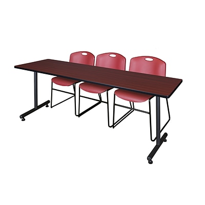 Regency 84L x 24W  Kobe Training Table- Mahogany & 3 Zeng Stack Chairs- Burgundy (MKTR8424MH44BY)