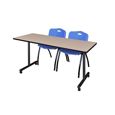 Regency 72L x 24W  Kobe Mobile Training Table- Beige & 2 M Stack Chairs- Blue (MKCC7224BE47BE)