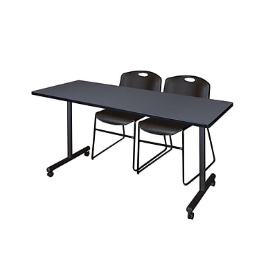 Regency 66L x 24W  Kobe Mobile Training Table- Grey & 2 Zeng Stack Chairs- Black (MKCC6624GY44BK)
